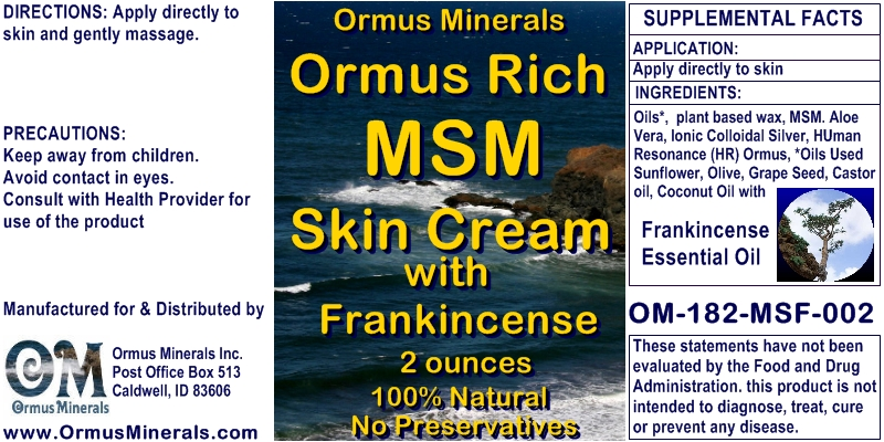 Ormus Minerals Ormus Rich MSM Skin Cream with Frankincense